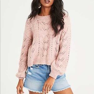 American Eagle // Blush Cropped Eyelet Sweater